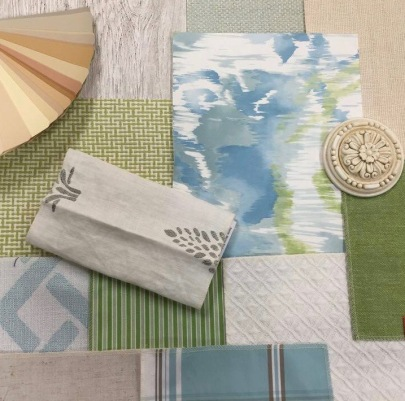 Thibaut fabrics and wallpaper with hardware from Select Hardware with a Benjamin Moore paint deck