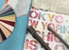 York Wallpaper, Urban Chic collection with Sunbrella fabric and Select Hardware rods